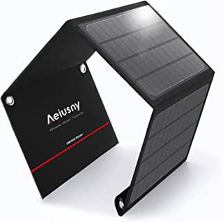 Aeiusny 20W Solar Charger Foldable Solar Panel with 3 USB Ports Waterproof Camping Travel Compatible for Battery Power Bank, iPhone Xs/XR/X/8P/8/7P/7, iPad, Galaxy S9 S8, Nexus, LG, Any 5V USB Devices