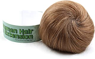 Bella Hair 100% Human Hair Bun Extension Donut Chignon Hairpieces for Both Women and Men Instant Up Do Style Bun Wig (#8 Brown/Light Chestnut Brown)