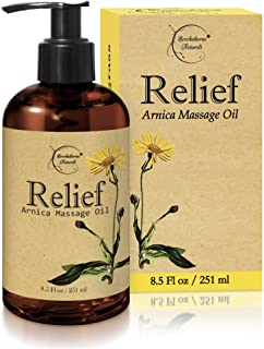 Relief Arnica Massage Oil � Great for Sports & Athletic Therapeutic Massage � All Natural - Arnica Montana for Sore Muscle Relief. Contains Sweet Almond, Jojoba, Grapeseed & Essential Oils 8.5oz