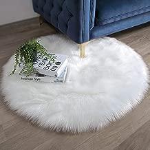 Ashler Faux Fur White Round Area Rug Indoor Ultra Soft Fluffy Bedroom Floor Sofa Living Room 3 x 3 Feet