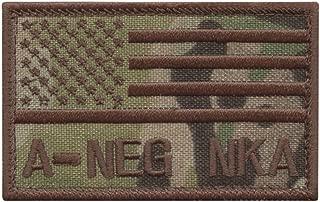 LEGEEON ANEG A NEG Blood Type Multicam OCP USA America Flag NKA NKDA No Known Allergies IFAK Morale Tactical Hook&Loop Patch