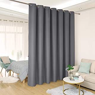 Deconovo Room Divider Curtain Thermal Insulated Blackout Patio Door Curtain Panel Wide Blackout Curtain for Sliding Glass Door, 8.3ft Wide x 8ft Tall, 1 Panel, Dark Grey