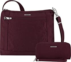 Travelon Anti-Theft Square Crossbody and Wallet Set - Medium RFID Lined Handbag for Travel & Everyday - (Dark Bordeaux/Dusty Rose Interior)