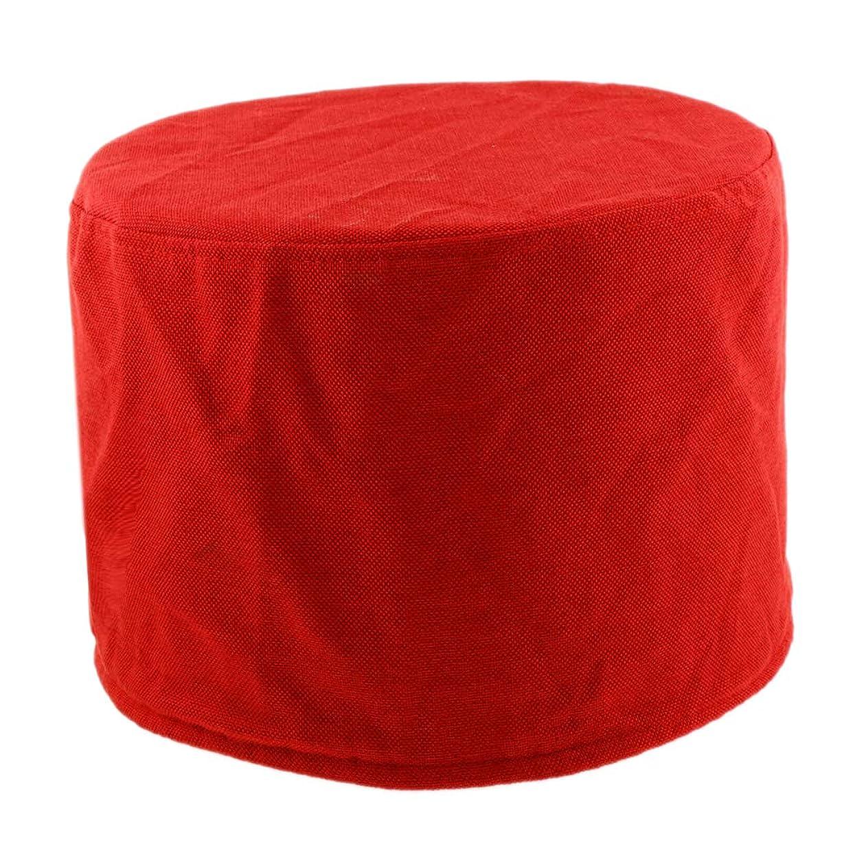 PETSOLA スツールカバー インテリア コットン ラウンド 通気性 洗濯可能 直径28cmのスツールに適合全8色 - レッド