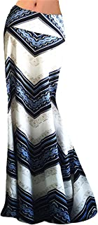 Womens Multicolored Two Tone Damask Printed Maxi Skirt
