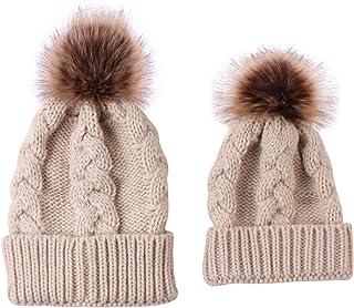 ROSEBEAR Ensemble Bonnet d'hiver Parent-Enfant Bonnet Mère-Enfant Bonnet Tricot Bonnet Hiver Chaud Au Crochet (Gris)
