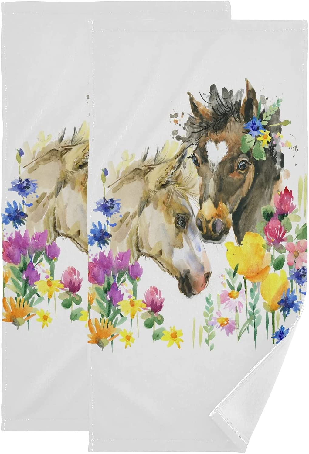 ALAZA Austin Mall 25% OFF Cute Foal Watercolor Hand Absorbent Decorative Soft Towels