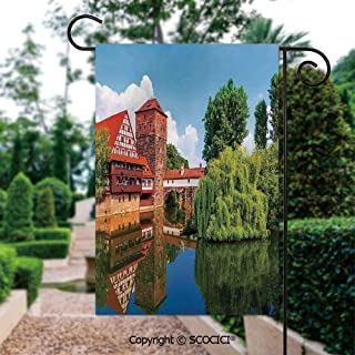SCOCICI Garden Flags, Scenic Summer German Traditional Medieval Half Timbered Bridge River Town Yard Holiday and Seasonal Decorative Flags Small Garden Outdoor Decorative Flags - 12 x 18 in