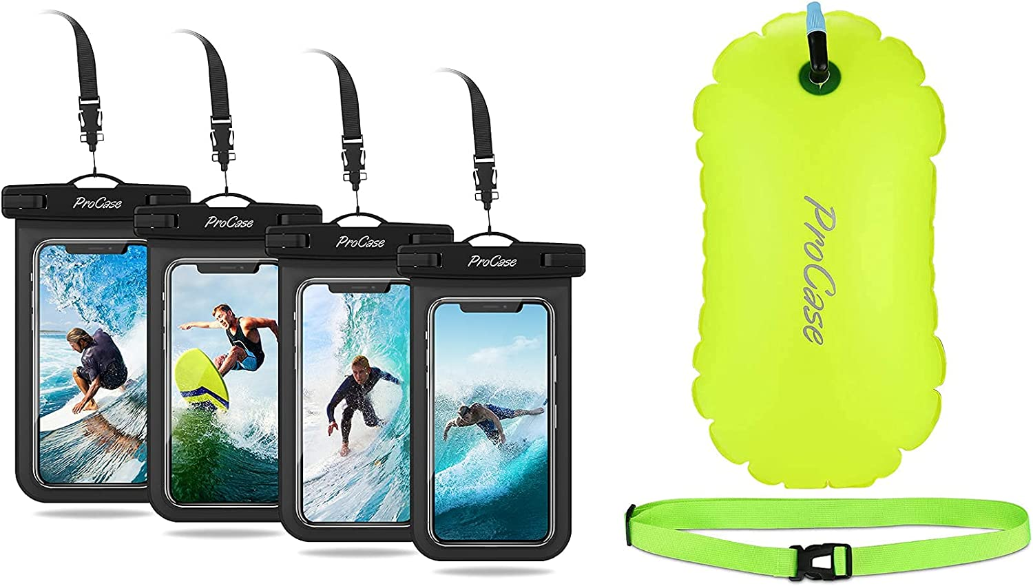 4 Pack ProCase Universal Cellphone Waterproof Pouch Dry Bag Underwater Case Bundle with ProCase Swim Buoy Float, Swimming Bubble Safety Float with Adjustable Waist Belt