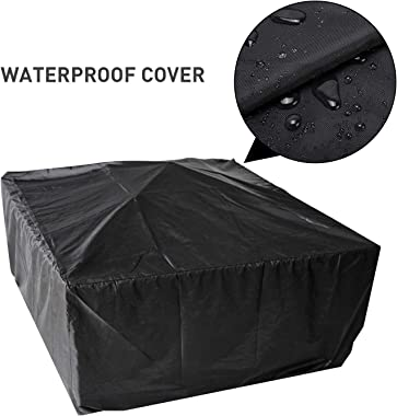 WINWEND Fire Pit Outdoor Wood Burning, 32in Firepit with Spark Screen, Waterproof Cover, Poker, Square Firepit for Patio Back