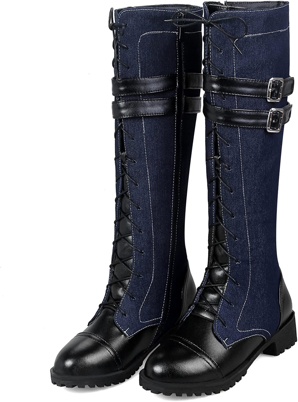 GONGFF Cowboy Boots Belt Buckle Denim Women's Boots Large Size High Boots