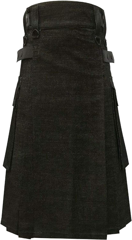 NJS Kilts-Black Denim with Leather Straps Utility Kilt for Men