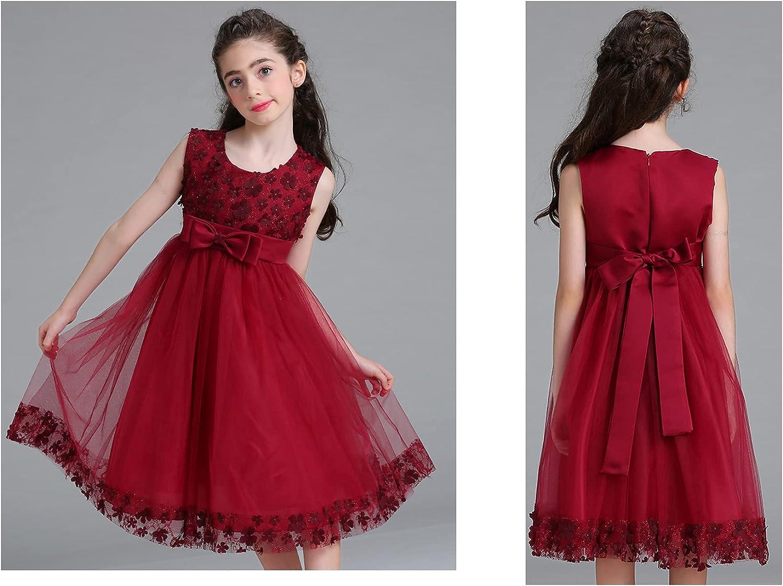 Girls Lace Bridesmaid Dress Flower Kid Wedding Ball Gown.