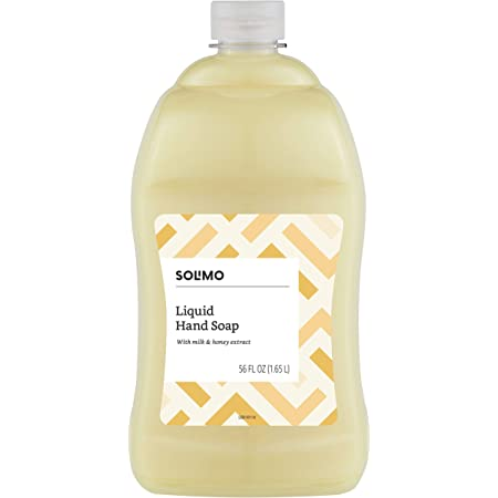Amazon Brand - Solimo Liquid Hand Soap Refill, Milk and Honey Scent, Triclosan-free, 56 Fluid Ounces, Pack of 1