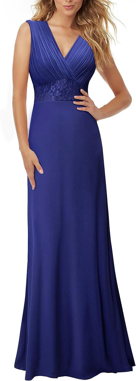 HOMEYEE Women's Deep VNeck Sleeveless Formal Prom Ruched Maxi Dress A047