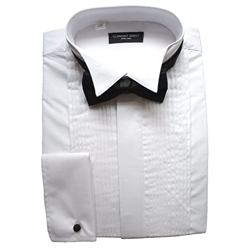 267f190986a Clermont Direct Poly-Cotton Pleated Dress Shirt Wing Collar