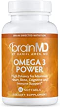 Dr. Amen brainMD Omega-3 Power - 60 Capsules - Joint, Heart & Immune Support Supplement, Promotes Positive Mood & Focus, Contains DHA & EPA - Gluten-Free - 30 Servings