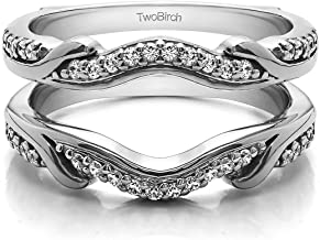 TwoBirch 0.26 Ct. Contoured Leaf Wedding Ring Jacket in Sterling Silver with Diamonds (G,I2)