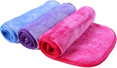 Nugilla Makeup Remover Cloth/Reusable Microfiber Cleansing Towel – Suitable for All Skin Types,Wipe Away Dirt, Oil and Cosmetics - Multiple Colours - 3 Pcs