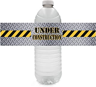 Under Construction Party Water Bottle Labels - 24 Stickers