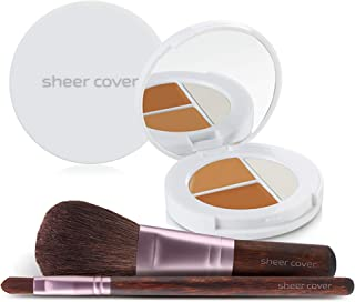 Sheer Cover Studio – Starter Face Kit – Perfect Shade Mineral Foundation – Conceal & Brighten Highlight Trio – with FREE Foundation Brush and Concealer Brush – Dark Shade – 4 Pieces