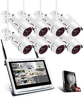 【2020 Actualizado】 ANRAN 1080P Kit Cámaras de Vigilancia WiFi con Monitor de 12 Pulgadas 8CH NVR CCTV Kit Videovigilancia WiFi con Pantalla 8 Cámaras de Vigilancia con 3TB HDD Visión Nocturna