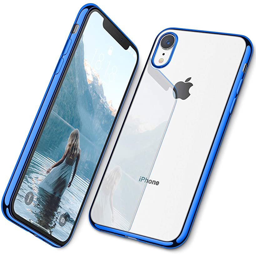 DTTO Case for iPhone XR, Soft TPU Clear Stylish Cover All-Round Protection Anti-Falling Case with Metal Luster Edge for Apple iPhone XR 6.1 Inch- Blue
