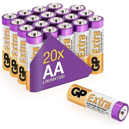Piles AA - LR6 - Lot de 20 | GP Extra | Batterie Alcalines 1,5v Longue Durée