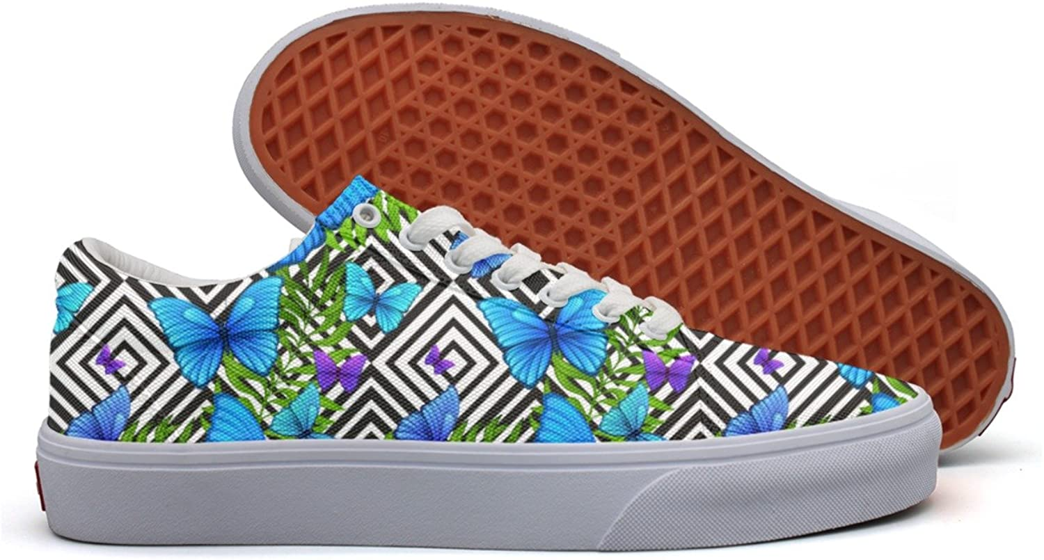 Palm Leaves Tropical With bluee Women's Casual Sneakers Flat Lo-Top Low Top Original