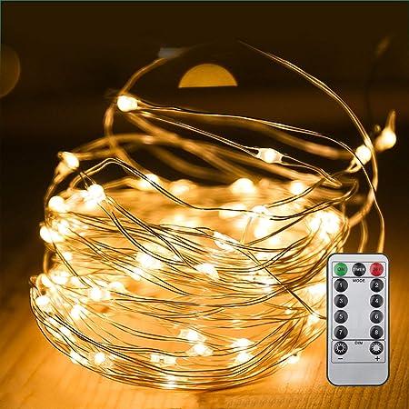 イルミネーションライト led イルミネーション100球 10m 8パターン リモコン式 タイマー機能 ガーデンライト 防水 屋外 室内 クリスマス 誕生日 バレンタインデー (10メートル)