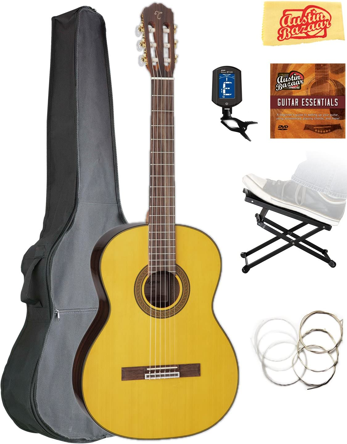 Takamine GC5 Brand new Classical Guitar - Natural Ba Bundle Sale price Gloss Gig with