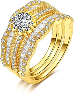 Bella Lotus Vintage Band Cubic Zirconia Diamond 3pcs Stackable Eternity Ring Set, 2 Colors, Gift for Valentine Day