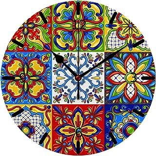 Kuizee Wall Clock Tabletop Mexican Talavera Block Ethnic Folk Ornament Majolica Colorful PVC Foam Board Creative Decoration Home Office Bedroom 10Inch