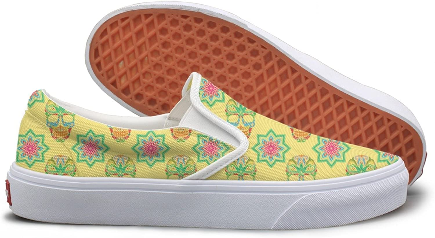 Lalige Yellow Skull and Sugar Lotus Women Casual Canvas Slip-ONS Travel shoes