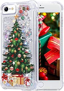 Flocute iPhone 7 Case,iPhone 8 Glitter Chrismas Case Bling Sparkle Floating Liquid Soft TPU Cushion Luxury Case for Girls Women Cute Case for iPhone 7 iPhone 8 4.7 Inch (Christmas Tree)