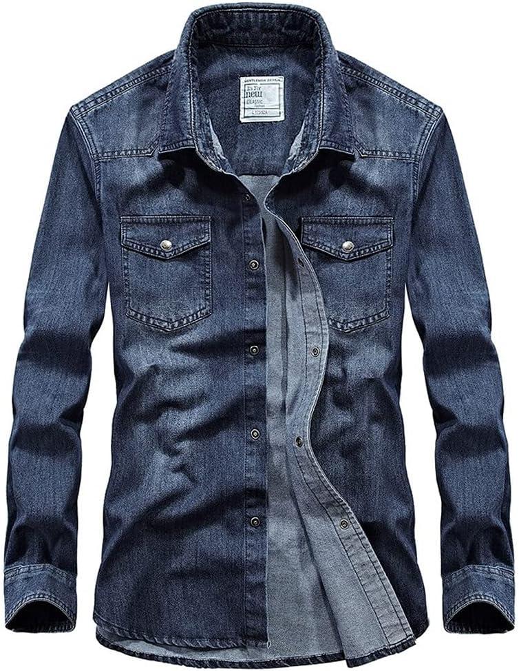 ABUCIYOU Casual Denim Shirts Men Long Sleeve Shirt Button Down Cotton Washed Jeans Jacket Work Dress Shirt