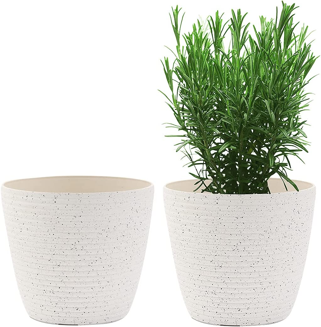 Flower Pots, KOTAO Outdoor Indoor Garden Plant Pots with Drainage Holes, 8 Inch Optional Planters, Speckled White, Set of 2