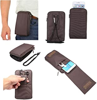 DFV mobile - Multi-Functional Universal Vertical Stripes Pouch Bag Case Zipper Closing Carabiner for VODAFONE Smart 4 Mini, VF-785 - Brown XXM (18 x 10 cm)
