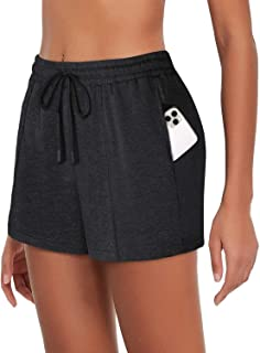 Womens Workout Running Shorts Drawstring Elastic Waistband Lounge Shorts with Pockets