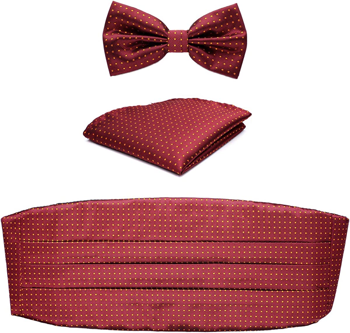 Men's Satin Brocade Polka Dots Adjustable Cummerbund & Bowtie & Pocket Square Tie Set