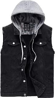 Heihuohua Men's Casual Button-Down Denim Vest Trucker Jean Jacket with Hoodie