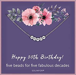 SOLINFOR 50th Birthday Gifts for Women - 925 Sterling Silver Necklace - Five Bead for Her 5 Decade - 50 Years Old Jewelry Gift Idea