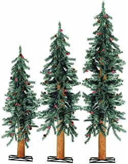 Sterling Inc. Unlit Frosted Alpine Artificial Christmas Tree (Set of 3) Color: White/Red