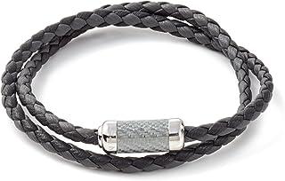Tateossian Mens Double Wrapped Italian Leather Montecarlo Carbon Fiber Silver Clasp Bracelet