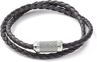 Mens Double Wrapped Italian Leather Montecarlo Carbon Fiber Silver Clasp Bracelet