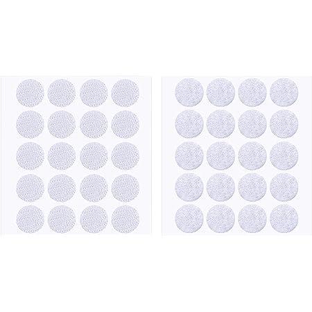 200 Pièces 2 cm Diamètre Crochet Autocollant et Crochet Rond Boucle (Blanc)