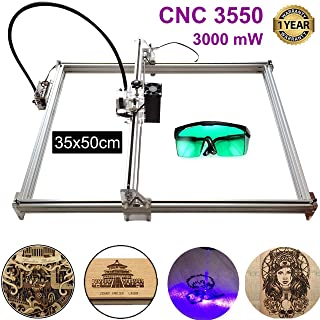3000mw Carving Machine DIY Kit, 3550 Desktop USB Laser Engraver Carver, Engraving Area 350mm 500mm Accuracy Adjustable Laser Power Printer Carving & Cutting with Protective Glasses