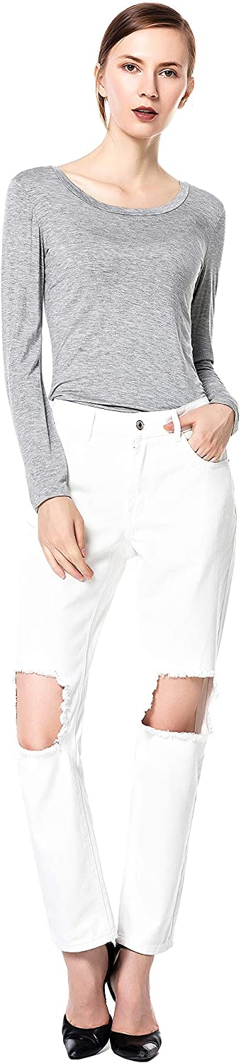 bluee Rainbow Womens Destroyed Ripped Distressed Modern Skinny White Jeans
