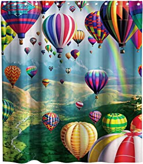 Colorful Hot Air Balloon Shower Curtain Rainbow Natural Landscape Image Print Cloth Fabric Bathroom Decor Set with Hooks Waterproof Washable 72 x 72 inches
