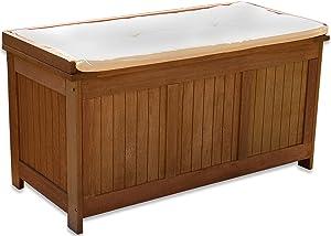 STILISTA® Gartenbank Gartenbox aus 100% FSC zertifiziertem Shorea-Hartholz, geölt, Liftautomatik, inkl. Kissen in Farbe Natur, 113 x 52,5 x 60,5 cm, Auflagentruhe